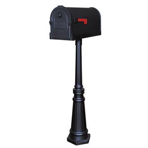 Savannah Black Curbside Mailbox with Tacoma Mailbox Post Unit