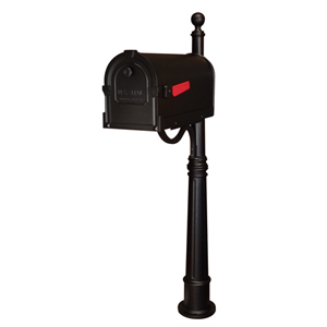 Savannah Black Curbside Mailbox with Ashland Mailbox Post Unit