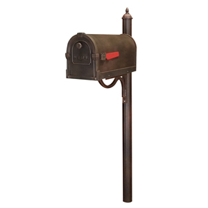 Savannah Copper Curbside Mailbox with Richland Mailbox Post Unit