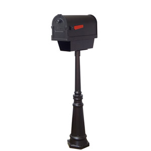 Savannah Curbside Mailbox with Paper Tube and Tacoma Mailbox Post in Black