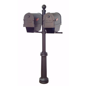 Savannah Curbside Mailboxes with Newspaper Tubes and Fresno Double Mount Mailbox Post in Black