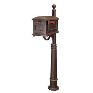 Traditional Copper Curbside Mailbox with Ashland Mailbox Post Unit