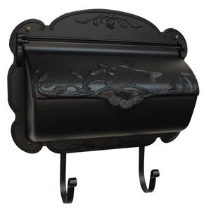 Hummingbird Black Horizontal Mailbox
