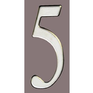 Stainless Steel 3-Inch House Number Five