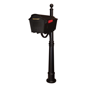 Town Square Black Curbside Mailbox and Ashland Mailbox Post Unit