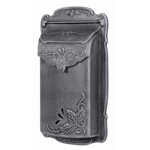 Floral Vertical Swedish Silver Mailbox