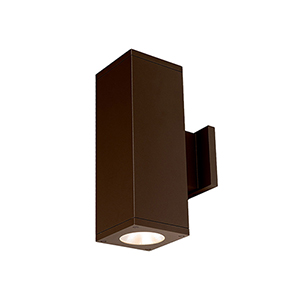 Cube Architectural Bronze 5-Inch Two-Light 3500K LED 85 CRI 5925 Lumens Wall Light with 33  Degree Beam Spread
