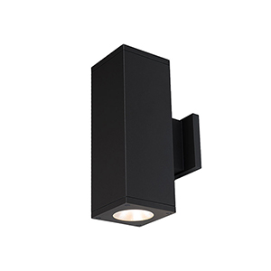 Cube Architectural Black 5-Inch Two-Light 3500K LED 85 CRI 6113 Lumens Wall Light with 33  Degree Beam Spread