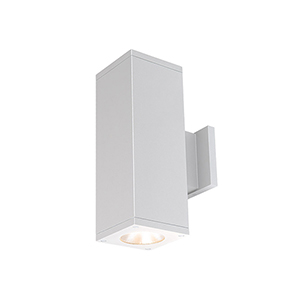 Cube Architectural White 5-Inch Two-Light 3500K LED 85 CRI 6113 Lumens Wall Light with 33  Degree Beam Spread
