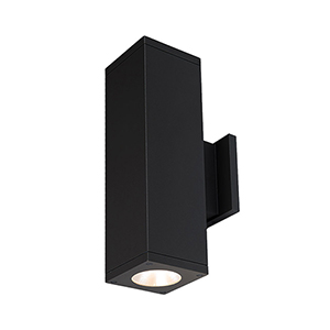 Cube Architectural Black 6-Inch Two-Light 3500K LED 85 CRI 7413 Lumens Wall Light with 40  Degree Beam Spread