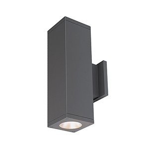 Cube Architectural Graphite 6-Inch Two-Light 3500K LED 85 CRI 7413 Lumens Wall Light with 40  Degree Beam Spread