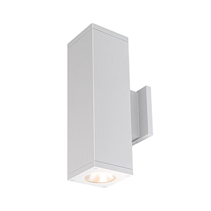 Cube Architectural White 6-Inch Two-Light 3500K LED 85 CRI 7413 Lumens Wall Light with 40  Degree Beam Spread