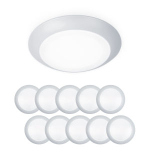 Disc White Six-Inch LED ADA Outdoor Flush Mount, Pack of 10
