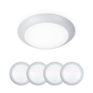 Disc White Six-Inch LED ADA Outdoor Flush Mount, Pack of 4