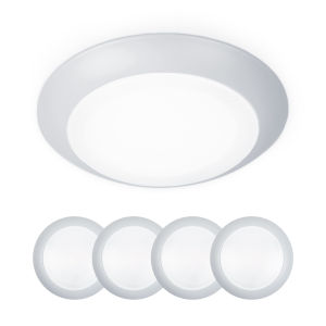 Disc White Seven-Inch LED ADA Outdoor Flush Mount and Retro Kit, Pack of 4