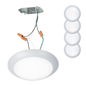 Disc White Seven-Inch LED ADA Outdoor Flush Mount, Pack of 4