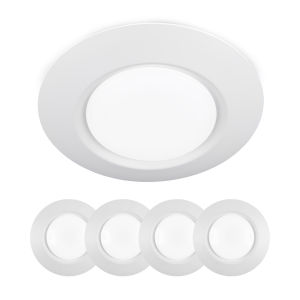 White Eight-Inch LED ADA Outdoor Flush Mount, Pack of 4