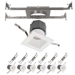 Pop-in White Nine-Inch LED ADA Square Recessed Downlight, Pack of 6