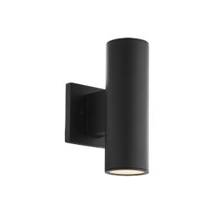 Cylinder Black Two-Light LED Wall Sconce