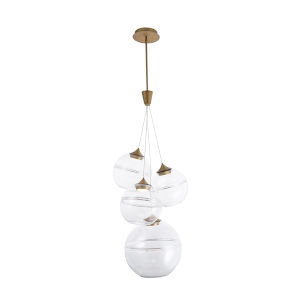 Bistro Aged Brass Four-Light LED Pendant