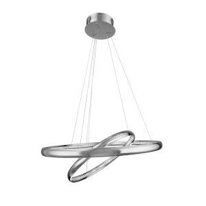 Tumbling Chrome 25-Inch Two-Light LED Pendant