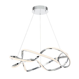 Interlace Chrome 28-Inch LED Pendant