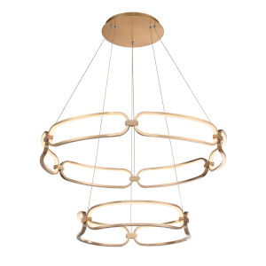 Charmed Soft Gold 32-Inch Two-Ring LED Chandelier