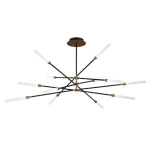 Houdini Black Aged Brass 12-Light LED Chandelier