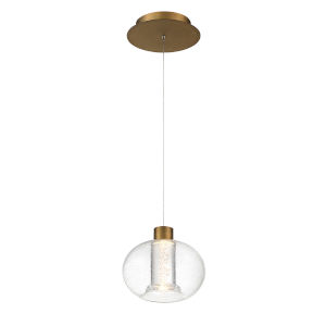 Crater Aged Brass Eight-Inch LED Mini Pendant