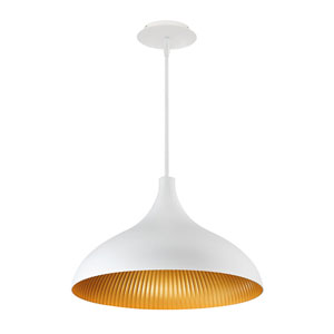 Copa White Gold Ribbed 10-Inch LED Outdoor Pendant