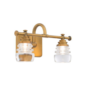 Rondelle Aged Brass 14-Inch Two-Light LED Bath Vanity