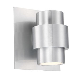 Barrel Brushed Aluminum Six-Inch Two-Light LED Outdoor Wall Sconce