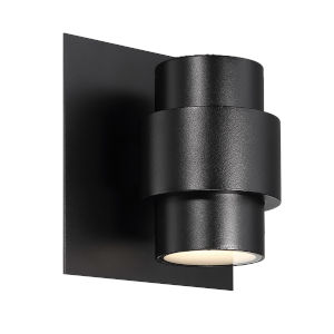 Barrel Black Six-Inch Two-Light LED Outdoor Wall Sconce