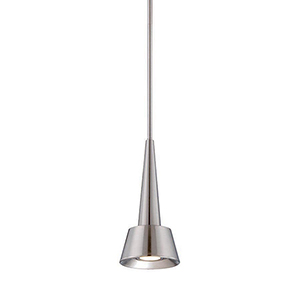 Rocket Brushed Nickel LED Pendant with Spun Metal Brushed Nickel
