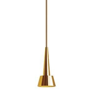 Rocket Brushed Brass LED Pendant with Spun Metal Brushed Brass