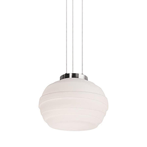Elliptic Brushed Nickel LED Pendant with Blown Etched Glass