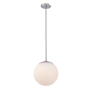 Niveous Brushed Nickel 10-Inch LED Pendant with Blown Etched Triplex Glass