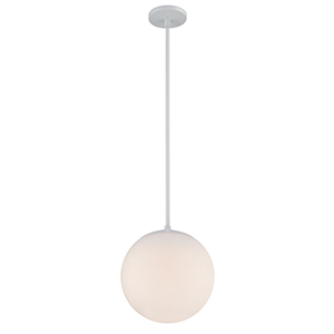 Niveous White 10-Inch LED Pendant with Blown Etched Triplex Glass