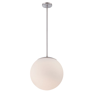 Niveous Brushed Nickel 13-Inch LED Pendant with Blown Etched Triplex Glass