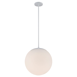 Niveous White 13-Inch LED Pendant with Blown Etched Triplex Glass
