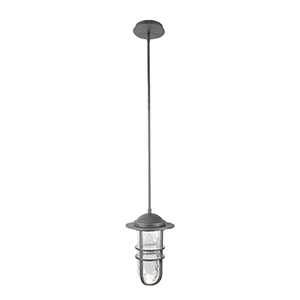 Steampunk Graphite LED Outdoor Pendant with Clear Hammered Seeded Blown Glass