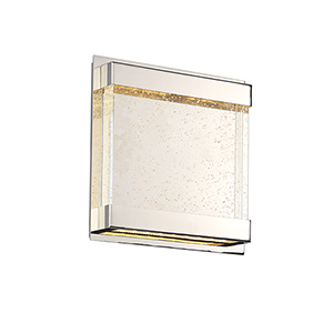 Mythical Polished Nickel LED Wall Sconce with Clear Seeded Glass