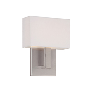Manhattan Brushed Nickel 7-Inch LED Wall Sconce with Trimless Fabric Shade