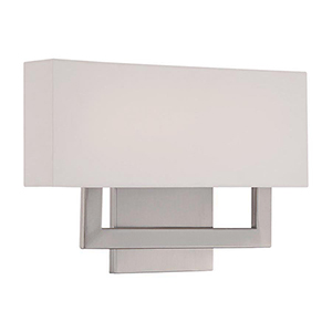 Manhattan Brushed Nickel 15-Inch LED Wall Sconce with Trimless Fabric Shade