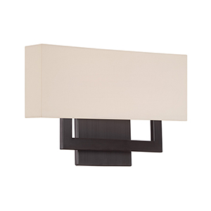 Manhattan Brushed Bronze 15-Inch LED Wall Sconce with Trimless Fabric Shade