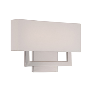 Manhattan Polished Nickel 15-Inch LED Wall Sconce with Trimless Fabric Shade
