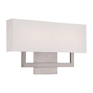 Manhattan Brushed Nickel 22-Inch LED Wall Sconce with Trimless Fabric Shade