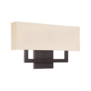Manhattan Brushed Bronze 22-Inch LED Wall Sconce with Trimless Fabric Shade