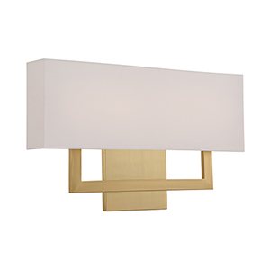 Manhattan Brushed Brass 22-Inch LED Wall Sconce with Trimless Fabric Shade