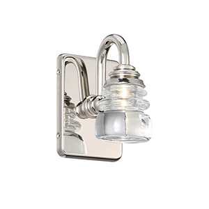 Rondelle Polished Nickel One-Light LED Wall Sconce
